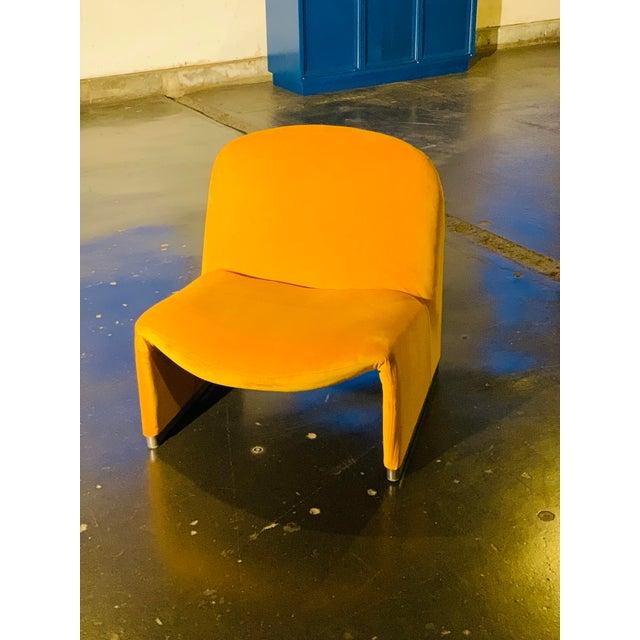 "1970s 1970s Giancarlo Piretti ""Alky"" Chair in Goldenrod Velvet For Sale - Image 5 of 12"