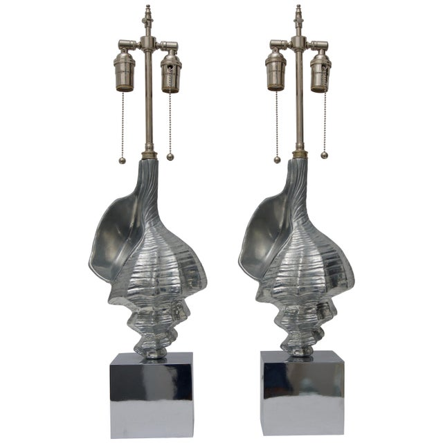 Metal Sea Shell-Form Table Lamps in Aluminium - a Pair For Sale - Image 7 of 7