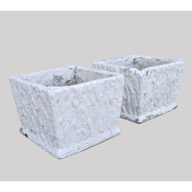 Concrete 9 X 11 Pair of Vintage White Concrete Cement Square Garden Planter Flower Pots For Sale - Image 7 of 7