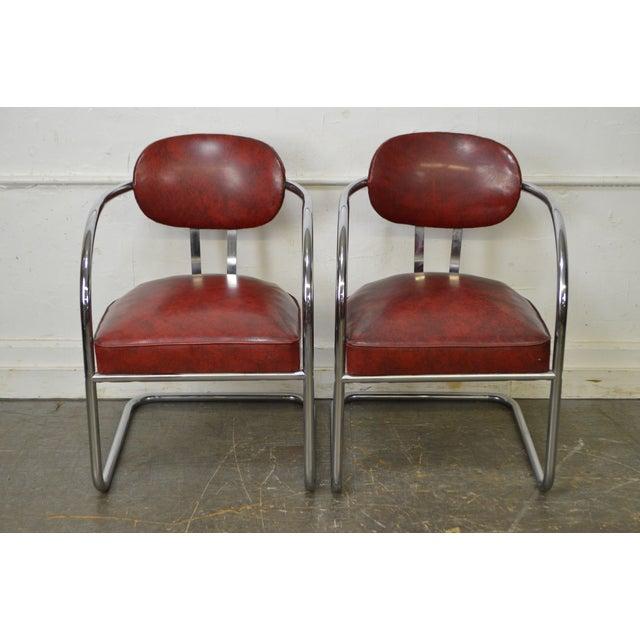 Art Deco Set Of 6 Chrome Amp Red Vinyl Dining Chairs Chairish
