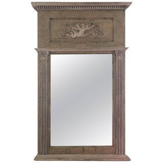 Very Pretty Painted Wood French Trumeau Mirror For Sale