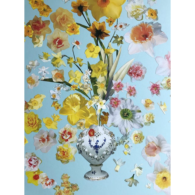 """Abstract Expressionism Marcy Cook """"Vase of Daffodils"""" Original Fine Art Collage For Sale - Image 3 of 7"""