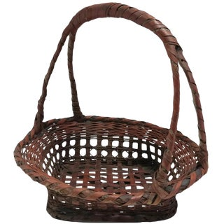 Vintage American Wicker Gathering Basket