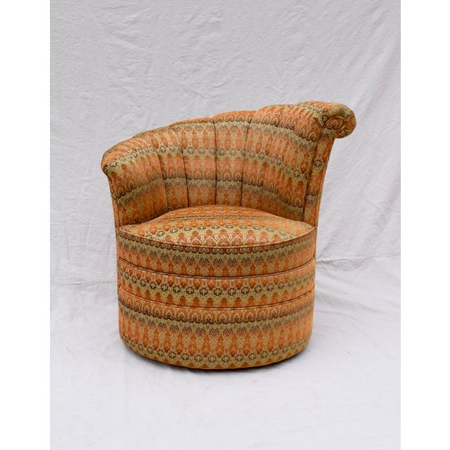 Channel Back Swivel Art Deco Inspired Chairs For Sale - Image 12 of 13