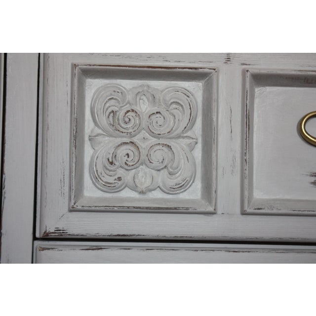 Carved Wood Detailed Gray Dresser - Image 7 of 11