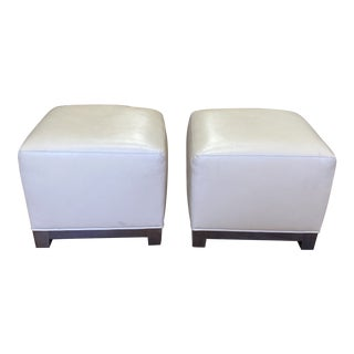 Cream Leather Square Ottomans - a Pair For Sale