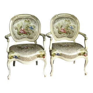 1950s Hollywood Regency Painted Tapestry Chairs - a Pair