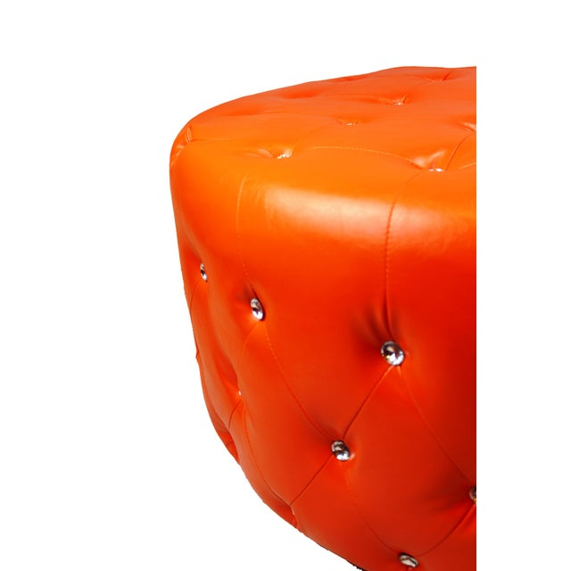 Contemporary Pasargad N Y Pu Orange Leather Ottoman For Sale - Image 3 of 13