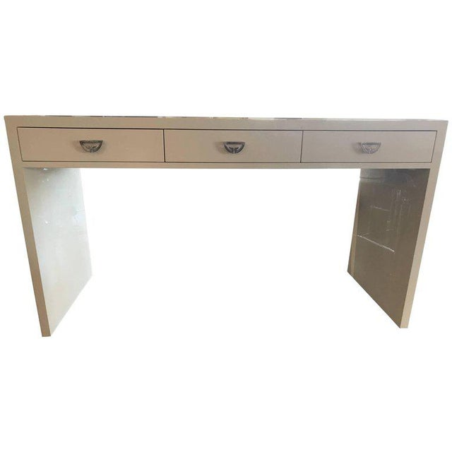 White Nancy Corzine Ivory Lacquer Three-Drawer Desk For Sale - Image 8 of 8