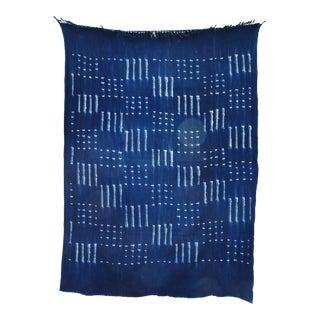 Vintage Striped Indigo Blue & White African Textile Fabric Throw For Sale