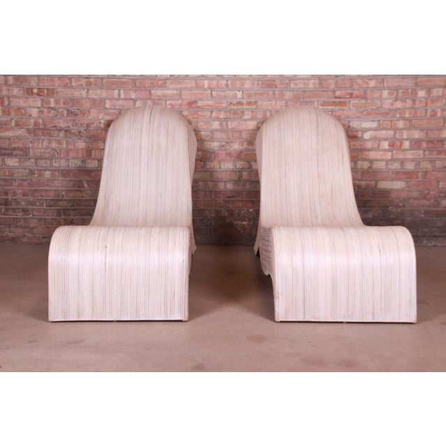 Betty Cobonpue Sculptural Split Reed Rattan Chaise Lounges, Pair For Sale - Image 4 of 13