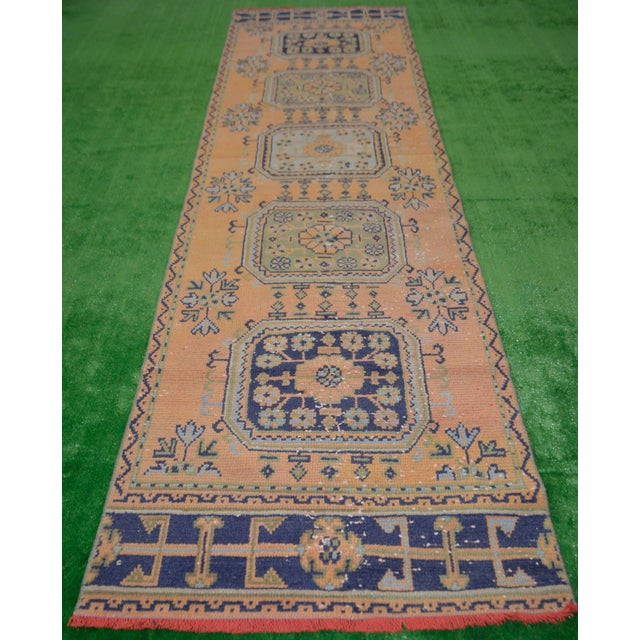 "Distressed Oushak Rug Runner - 2'11"" x 11'1"" - Image 4 of 8"