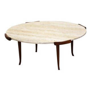 Erno Fabry Walnut and Travertine Coffee Table For Sale