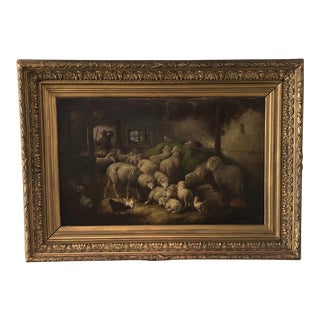 Antique Belgian Barn Interior Painting For Sale