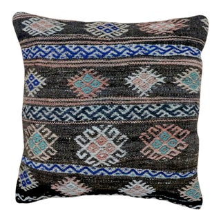 1960s Vintage Cocoa Turkish Kilim Pillow For Sale