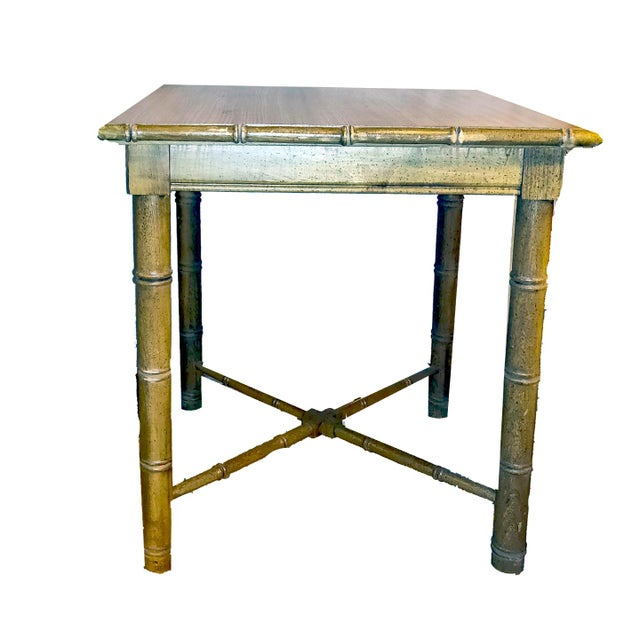 Victorian Vintage Aesthetic Movement R J Horner Wood Formica Topped Faux Bamboo Rattan Side Table For Sale - Image 3 of 8