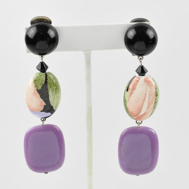 Angela Caputi Purple and Floral Dangling Resin Clip on Earrings For Sale In Atlanta - Image 6 of 6