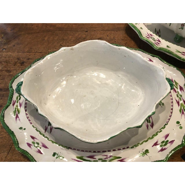 Pair French Faience Soup Tureens With Under Plates, Early 19th Century For Sale - Image 4 of 12