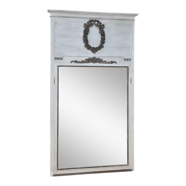 19th Century Louis XVI Neoclassical Painted Trumeau Mirror For Sale
