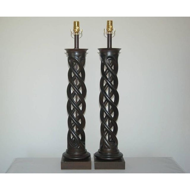 The dramatic Helix Lamp by Frederick Cooper. These CHOCOLATE BROWN table lamps are topped with a circular collar matching...