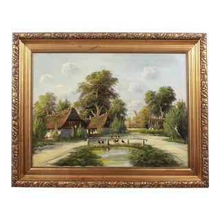Oil Painting of Farm by B. Moller For Sale