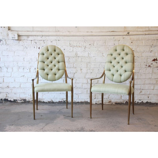 1970s Vintage Mastercraft Brass Regency Dining Chairs - Set of 6 - Image 4 of 11