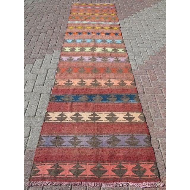"Vintage Anatolian Handmade Kilim Runner-3'x11'4"" For Sale - Image 13 of 13"