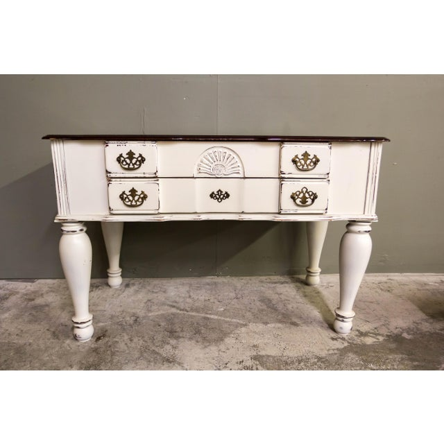 Paint Vintage Original Light Distressed Entry Two Drawer Console Table For Sale - Image 7 of 7