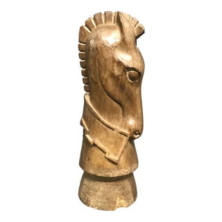 1920s Antiques Carved Solid Wood Paper Mache Mold Horse Head Sculpture For Sale