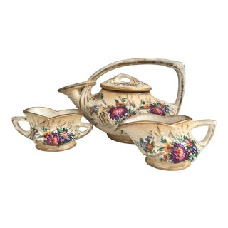 1940s Vintage McCoy Hand Decorated Pine Cone Tea Set - Teapot, Creamer, Sugar Bowl For Sale
