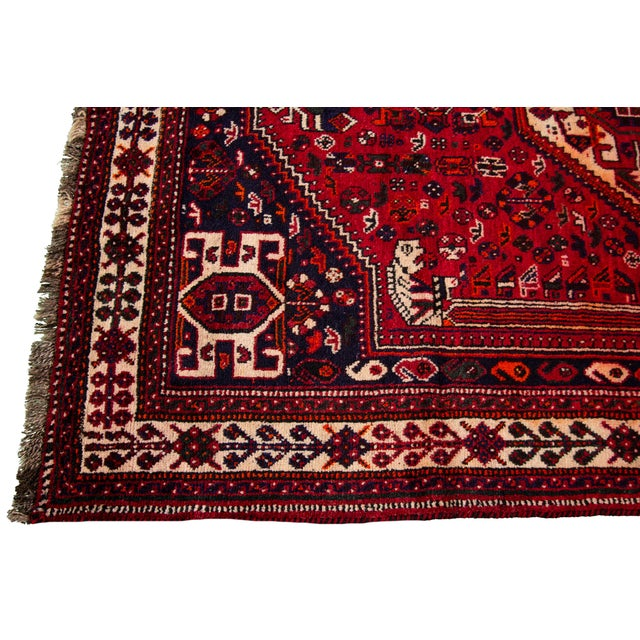 """Mid 20th Century Vintage Persian Shiraz Rug, 5'10"""" X 8'7"""" For Sale - Image 5 of 9"""