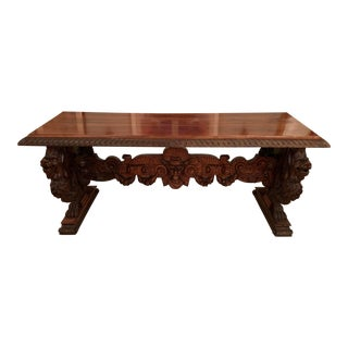 19th Century Gothic Carved Library Table For Sale
