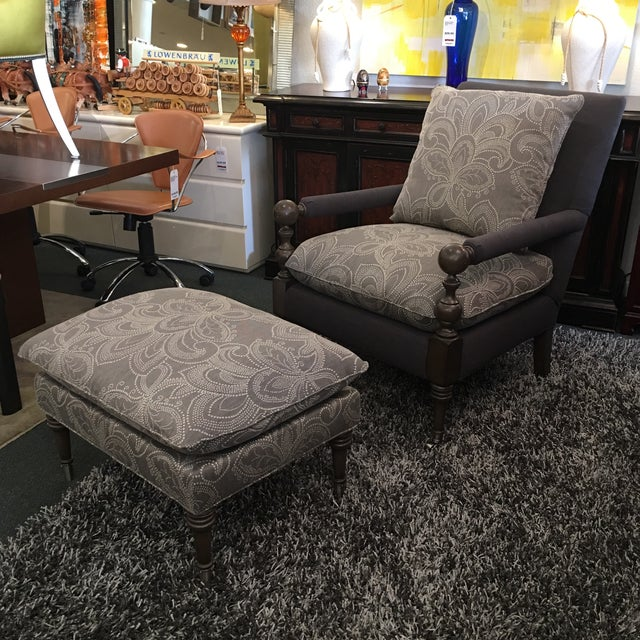 New Cr Laine Bradstreet Chair & Ottoman Set - Image 2 of 11
