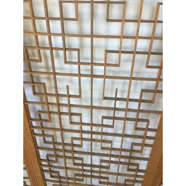 Brown Mid-Century Teak 4 Panel Screen For Sale - Image 8 of 10