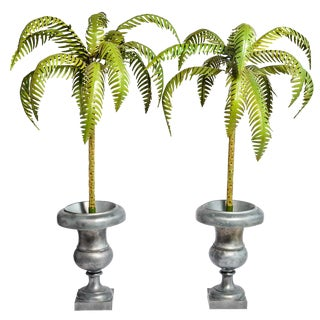 1970s Hollywood Regency Tole Palm Trees in Urns - a Pair For Sale
