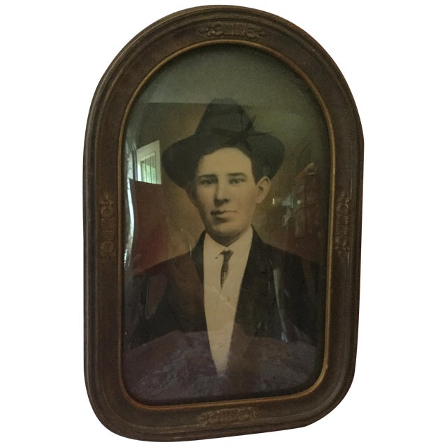 Antique Convex Glass Handsome Gent Portrait - Image 1 of 4