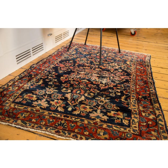 "Islamic Vintage Distressed Fine Bibikabad Rug - 3'5"" X 4'10"" For Sale - Image 3 of 7"