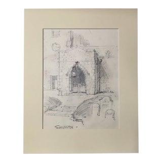 1920s Vintage Walter E. Church English Landscape Pencil Drawing - Shillington For Sale