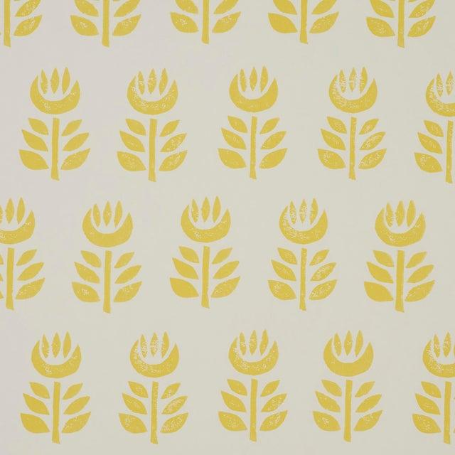 Sample - Schumacher Rosenborg Wallpaper in Yellow For Sale