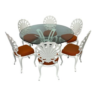 Vintage Shell Back Grotto Chairs and Table - 6 Chairs For Sale