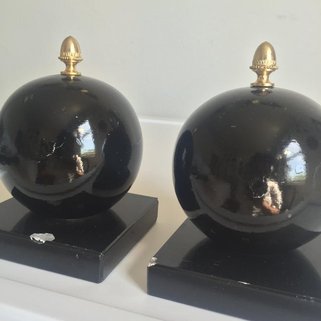 Vintage Alabaster Sphere Bookends - a Pair For Sale In New York - Image 6 of 7