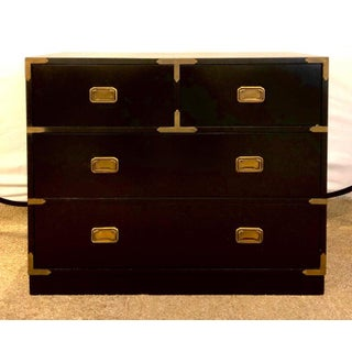 Campaign Style Ebony Chest / Dresser or Nightstand Attributed to Baker Preview