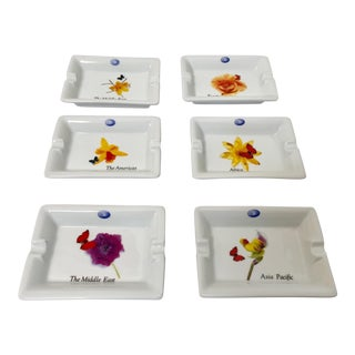Vintage Collector Porcelain Ashtrays by Laufen Pillivuyt, France - Set of 6 For Sale