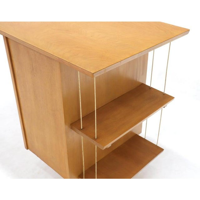 Light Birch Single Pedestal Petit Desk With Bookcase and Three Drawers For Sale - Image 6 of 12
