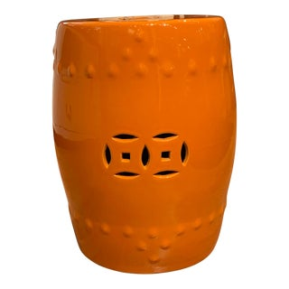Orange Ceramic Garden Stool For Sale