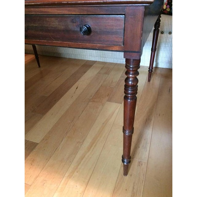 Traditional Mahogany & Tooled Leather Partner's Desk - Image 2 of 7