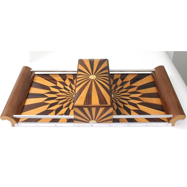 Art Deco 1920s Paul Giordano Paris Serving Tray Exotic Wood Parquet For Sale - Image 12 of 12