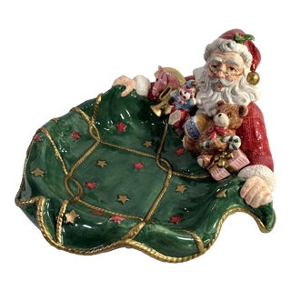 1990s Vintage Fitz and Floyd Santa's List Tray For Sale
