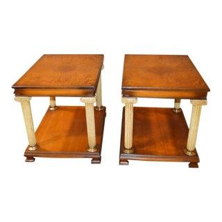 Vintage Neo-Classic Style Corenthian Column Leg Side Tables - a Pair For Sale