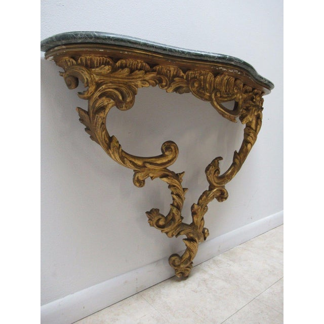 Antique French Carved Marble Top Wall Shelf Console - Image 2 of 11